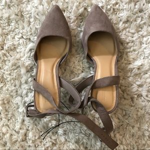 NWT. Gray/taupe ankle strap heels from Forever 21